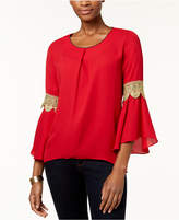 NY Collection Petite Lace-Trim Bell-Sleeve Top
