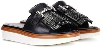 Tod's Double T leather slides