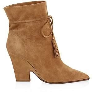 Aquazzura Women's Sartorial Tassel-Trimmed Suede Ankle Boots