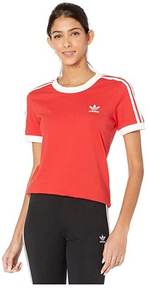 adidas 3-Stripes Tee (Lush Red/White) Women's T Shirt