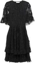 Sachin & Babi Cape-effect Tiered Embroidered Tulle Dress