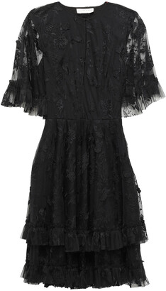 Sachin + Babi Cape-effect Tiered Embroidered Tulle Dress