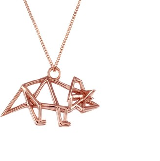 Origami Jewellery Frame Triceratop Necklace Rose Gold