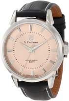 S. Coifman Men's Rose Gold Dial Black Genuine Italian Leather