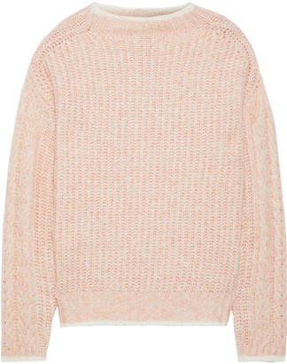 Line Ribbed Melange Cotton-blend Sweater