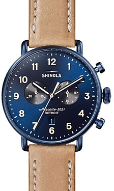 Shinola The Canfield Tan Leather Strap Chronograph, 43mm