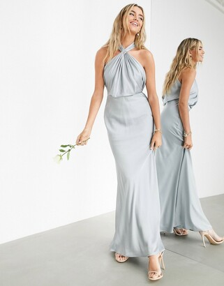 ASOS EDITION satin ruched halter neck maxi dress in ice blue