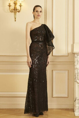 GEORGES HOBEIKA One Shoulder Beaded Tulle Gown