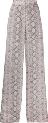 Rokh Snakeskin Print Wide-Leg Trousers
