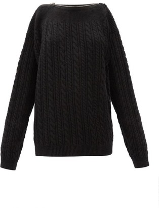 Raf Simons Zipped-neckline Cable-knit Wool Sweater - Black