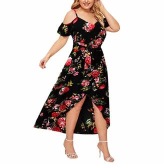 Gofodn Dresses for Women UK Plus Size Evening Party Elegant Sexy V Neck Floral Print Sleeveless Maxi Dress Black
