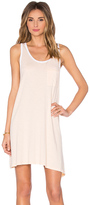 Sundry White Contrast Rib Asymmetrical Binding Dress