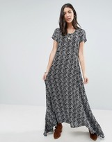 Raga Wild Love Black And White Printed Maxi Dress