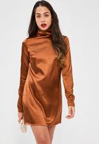 Missguided Bronze Silky High Neck Shift Dress