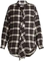 Balenciaga New Swing checked cotton-flannel shirt