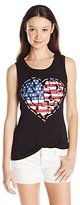 Miss Chievous Juniors' Tank with Heart American Flag Screen Print