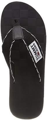 Tommy Jeans Hilfiger Denim Men's Tj Leather Footbed Beach Sandal Flip Flops, (Black-White 901)