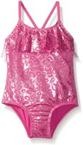 Pink Platinum Platinum Little Girls' Foil Cheetah Print One Piece Swimsuit