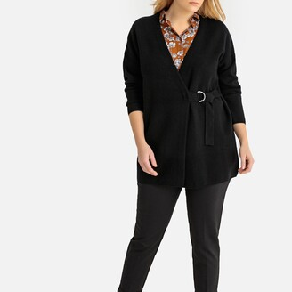 La Redoute Collections Plus Longline Chunky Knit Cardigan with Tie-Waist