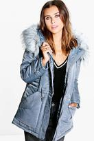 boohoo Petite Mia Luxe Parka With Faux Fur Hood grey
