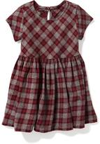 Old Navy Plaid Brushed-Twill Fit & Flare Dress for Toddler