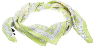 Versace Lime Green Floral Baroque Printed Silk Square Scarf