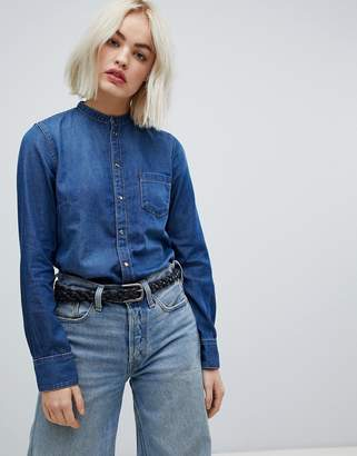 Pepe Jeans Ella collarless denim shirt-Blue