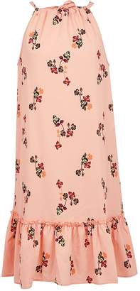 Dorothy Perkins Womens **Vero Moda Coral Floral Print Sleeveless Midi Dress, Coral