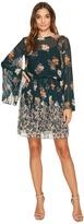 Donna Morgan Short Dress with Smock Detail and Sunburst Pleat Sleeves Women's Dress
