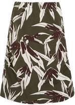 Marni Ruched Printed Cotton And Linen-Blend Skirt