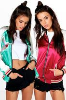 Boohoo Boutiuqe Evie Reversible Embroidered Satin Bomber
