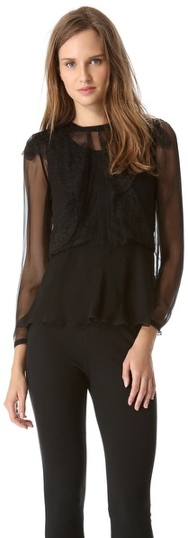Alberta Ferretti Collection Ruffle Blouse with Long Sleeves