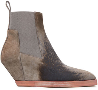 Rick Owens Distressed Suede Ankle Boots