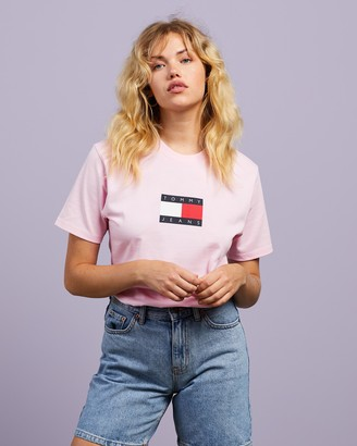 Tommy Jeans Women's Pink Printed T-Shirts - TJW Tommy Flag Short Sleeve Tee - Size XS at The Iconic