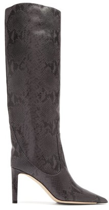 Jimmy Choo Mavis 85 Python-effect Leather Knee-high Boots - Dark Grey