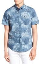 Original Penguin Men's Heritage Slim Fit Fern Print Poplin Shirt
