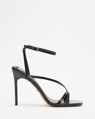Topshop Women's Black Heeled Sandals - Rise Strappy High Heels - Size 37 at The Iconic