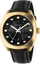 Gucci Men's Swiss GG2570 Black Leather Strap Watch 41mm YA142310