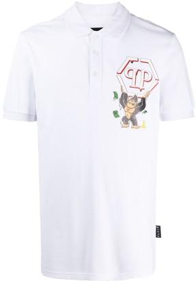 Philipp Plein Ape Logo Print Polo Shirt