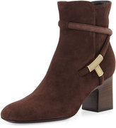 Tom Ford T-Bar Suede 65mm Bootie, Brown