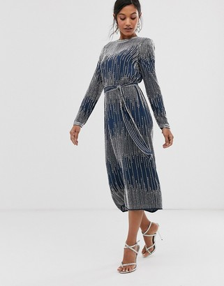 Asos EDITION linear beaded midi dress