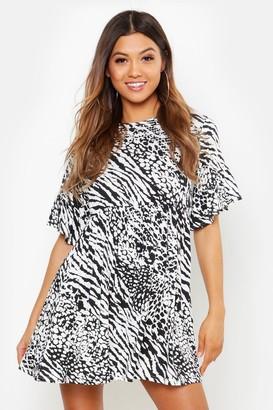 boohoo Animal Print Smock Dress