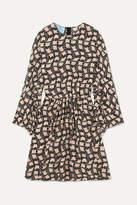 Prada Ruffled Printed Silk Crepe De Chine Mini Dress - Black