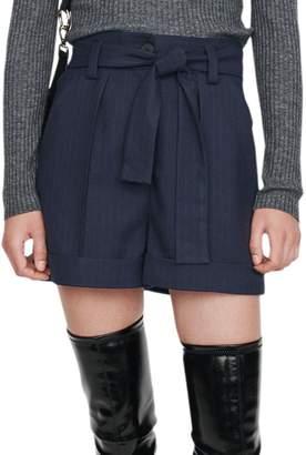 Maje Idaia High-Waisted Pinstripe Shorts