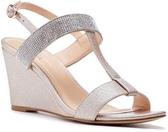 Linzi Paradox London Jacey Champagne Low Heel H-Bar Wedges