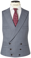 John Lewis & Co. Drayton Wool Crossweave Tailored Waistcoat, Smokey Blue