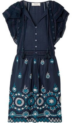 Sea Sofie Pintucked Broderie Anglaise Cotton Mini Dress