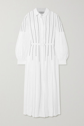 Gabriela Hearst + Net Sustain Chelsea Belted Pleated Embroidered Organic Linen Midi Dress - Ivory