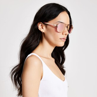 River Island Womens Rose Gold mirrored aviator sunglasses