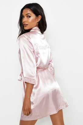 boohoo Diamante Bridesmaid Satin Robe